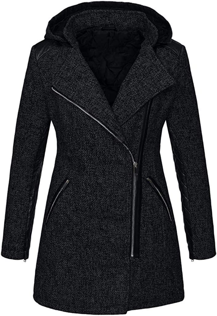 Forthery-Women Fashion Wool Coat with Pu Trim and Stand Collar Asymmetric Zipper Winter Coat Jacket