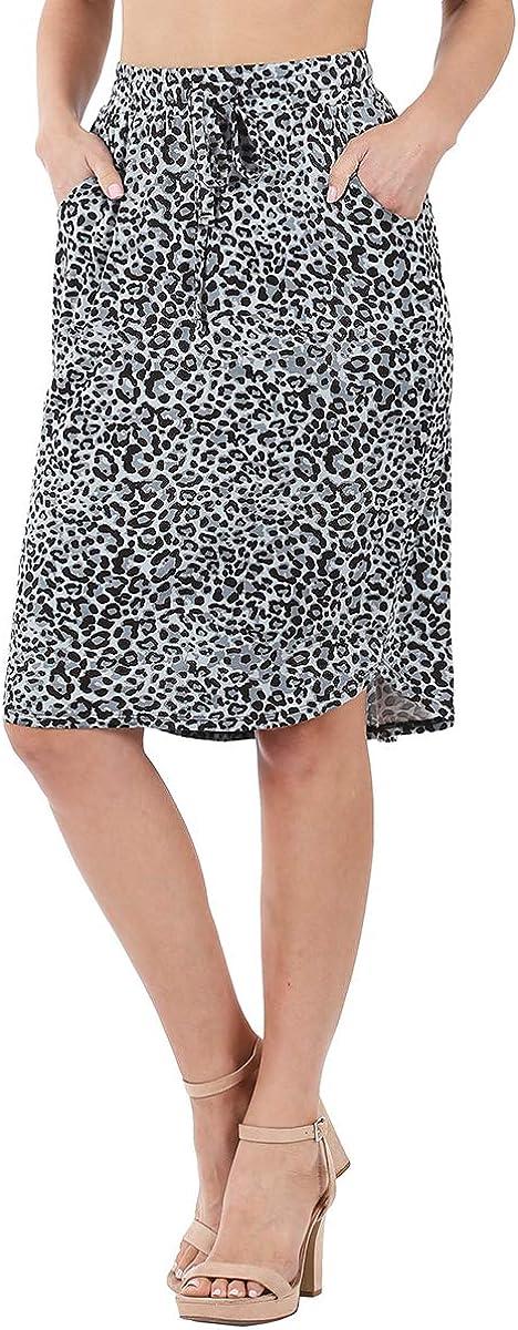 ShezPretty Women's Drawstring Elastic Waist Side Pocket Midi Skirt (3-Types)