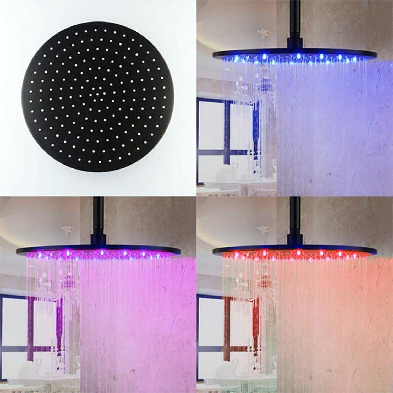 Actoor Ultra Dünn Duschkopf Regenbrause, 11,8 Zoll Rostfreier Stahl 3 Farben ndern Sich mit der Wassertemperatur für Badezimmer, Badewannen (Schwarz)