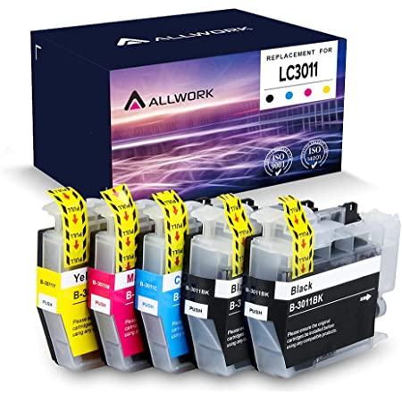 Allwork Compatible LC3011 Ink Cartridges Replacement for Brother LC3011 Ink Cartridge Works with Brother MFC-J690DW MFC-J895DW Brother MFC-J497DW MFC-J491DW Inkjet Printer 5 Packs (2KCMY)