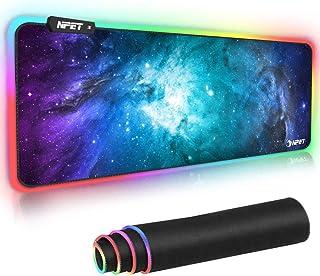 NPET マウスパッド 超大型ゲーミングマウスパッド 12モード 9色の発光色 RGB 虹モード 滑り止め USBケーブル 防撥水加工 ゲーマー向け 拡張マウスパッド 800mm x 300mm x 4mm ブラック 2年間の品質保証 MP02-SP