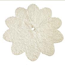 KESYOO Christmas Tree Skirts Aprons Flower Christmas Tree Carpet Plush Faux Fur Tree Skirt Christmas Tree Mat Rugs Tree Co...