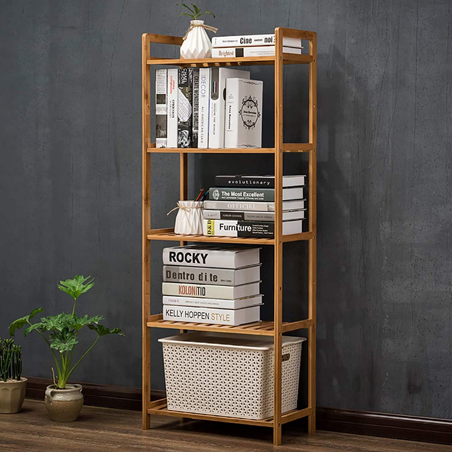 Bamboo 5-Tier Bookshelf, Shelf Display Rack Open Shelf Narrow Library Display Stand Tall Multipurpose for Home or Office -H 50x25x128cm(20x10x50inch)