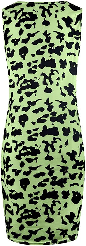 Toeava Women's Dress Sleeveless Slim Comfy Fashion Leopard Print Summer Beach Party Evening Sundress Tank Mini Dress