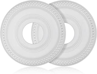 """Canomo 2 Packs Molded PU Ceiling Medallion for Light Fixtures and Ceiling Fans, 12""""OD x 4""""ID, White"""