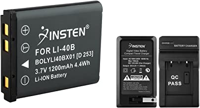 Insten Compatible Battery + Battery Charger with Car Adapter for Olympus Stylus 1040/1050 SW/1060/1070/7010/7020/7030/7040/710/720 SW/725 SW/730/740/SW/820/830/840/850 SW Stylus Tough 3000 Camera
