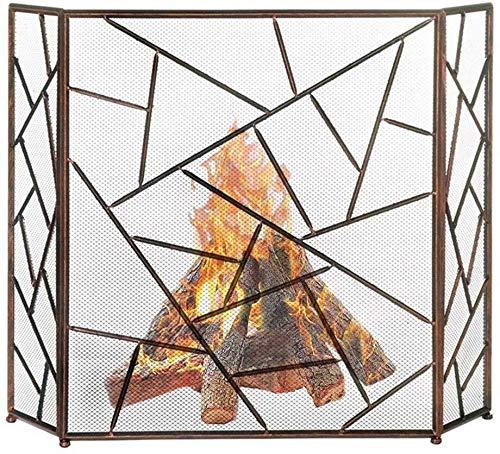 3 Panel Opvouwbare Open haard Scherm, Grote Fire Mesh Hek, Baby Huisdier Veiligheid Fireguard Scherm, Voor Open Vuur/Gas Branden/Log Houtbrander,53×33.5in Brons