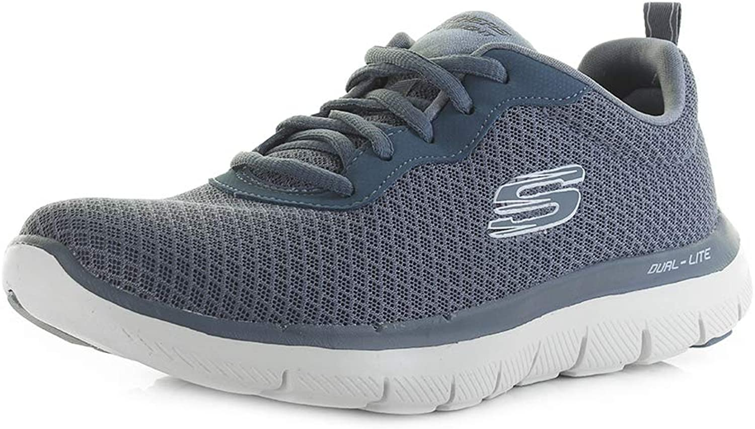 shoestore Womens Skechers Flex Appeal 2.0 Slate Grey Dual Lite Trainers Size