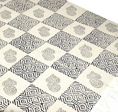 Guru-Shop Handgeweven Bloktapijt in Natuurkatoen met Traditioneel Dessin - Wit/zwart Patroon 12, 180x110 cm, Tapijten en Vloermatten