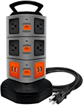 Surge Protector Power Strip, Lovin Product Safety Universal Electric Charging Station; with 10 Outlets 4 USB/Rotating Tower/ 6 feet Cord Wire Extension Power Strip Tower (10 Outlets 4 USB)