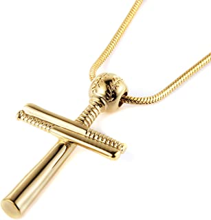 Baseball Cross Sports Pendant Stainless Steel Baseball Bat Cross Necklace, Large and Small