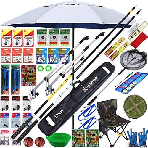 YROD Vishengels, Carbon Telespin Rod Ergonomische Visaccessoires Met Paraplu, Tas, Visnet, Vislijn, Vissen Haak, Ruimte Bonen