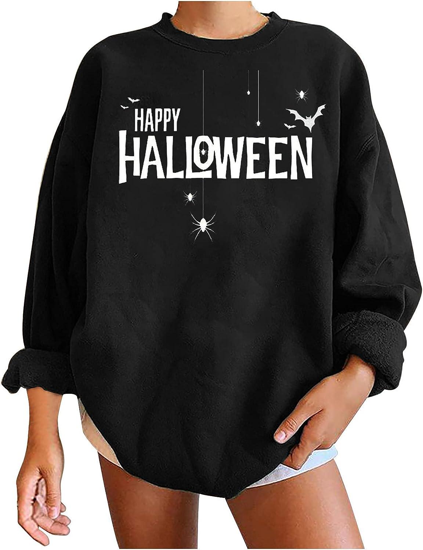 Bidobibo 2021 spring and summer new Women's Crewneck Max 74% OFF Oversized Halloween Happy Sweatshirts