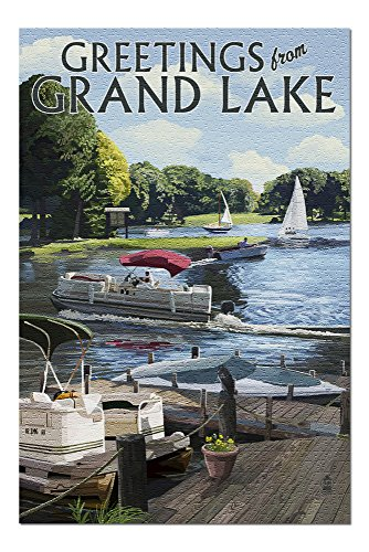 Presque Isle, Michigan - Greetings from Grand Lake 54257 (19x27 Premium 1000 Piece Jigsaw Puzzle for Adults, Made in USA!)