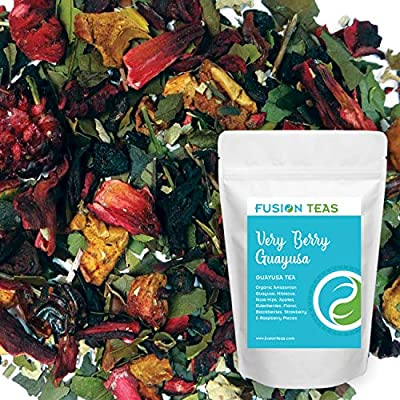 Very Berry Guayusa with Elderberry, Blackberry, Strawberry, Raspberry & Hibiscus Tea - Gourmet Loose Leaf Energy Drink and Coffee Substitute - 1 Pound (16 Oz.) Pouch