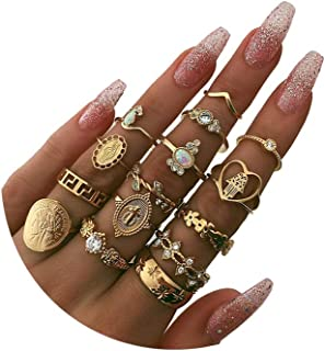 YOOESTORES82 15-19 Pieces Stackable Knuckle Ring Set.Vintage Gold Rhinestone Stacking Joint Ring Midi Finger Rings for Wom...