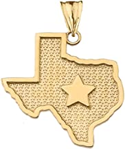 Fine 14k Yellow Gold State Map of Texas and Lone Star Silhouette Charm Pendant