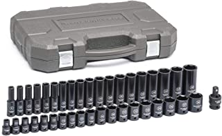 "GEARWRENCH  39 Pc. 1/2"" Drive 6 Point Standard & Deep Impact SAE Socket Set - 84947N, Black"
