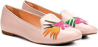 Sapatilha Couro Shoestock Slipper Bordado Floral Feminina