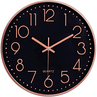LONBUYS Rose Gold Black Silent Wall Clock, 12 Inch No Ticking Quartz Clock 3D Numbers Battery Operated Round Easy to Read Modern Wall Clock Decor for Kitchen, School, Living Room,Bedroom,Office