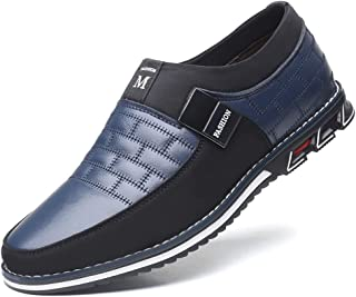 COSIDRAM Men Casual Shoes Summer Sneakers Loafers Breathable Comfort Walking Shoes Fashion Driving Shoes Luxury Black Brown Leather Shoes for Male Business Work Office Dress Outdoor Blue Size 10.5