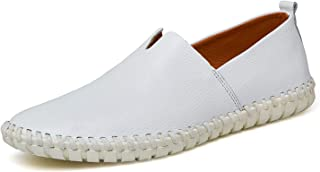 Genuine Cow Leather Mens Fashion Handmade Moccasins Soft Leather Slip On Mens Boat Shoe