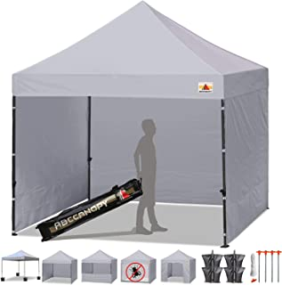 ABCCANOPY Canopy Tent Popup Canopy 10x10 Pop Up Canopies Commercial Tents Market stall with 6 Removable Sidewalls and Roller Bag Bonus 4 Weight Bags and 10ft Screen Netting and Half Wall, Gray