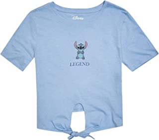 Disney Ladies Lilo and Stitch Shirt - Ladies Classic Lilo and Stitch Fashion Tee Lilo and Stitch Tie Front Short Sleeve Tee