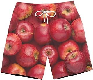 XIELH Shorts Summer 3D Printed Beach Pants Home Plus Size Loose Pants 3D Apple Print Shorts