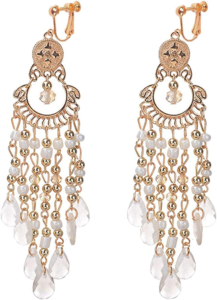 Classic Seed Beaded Clip on Earrings Same day shipping Girl Chi Women Bohemian for Max 58% OFF