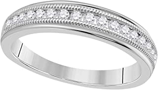 1/3 Carat Diamond (H-I/ I1-I2) Channel Set/Milgrained/Wedding/Engagement/Band In 10K Solid White Gold