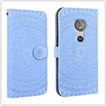 For Sony Xperia L2 Pressed Printing Pattern Horizontal Flip PU Leather Case with Holder & Card Slots & Wallet && Lanyard New (Gray) HuangFF (Color : Blue)