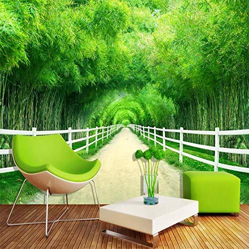 Papel pintado fotográfico 3D personalizado de bambú bosque valla camino fresco sala de estar sofá decoración fresco pared papel pintado 3D 250 x 175 cm