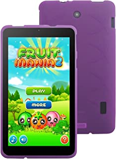 Nook Tablet 7 2016 TPU Case- iShoppingdeals Ultra–Slim TPU Rubber Gel Cover with Textured, Non-Slip Grip for Barnes & Noble Nook Tablet 7 Inch ( BNTV450) Android Tablet 2016 Release- Purple