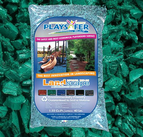 Playsafer Green Rubber Mulch 77 Cu. Ft. - 2000 Lbs. Pallet - 50 Bags