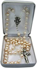 Catholic White Glass Prayer Bead Rosary Necklace with Miraculous Medal Centerpiece, 23 Inch