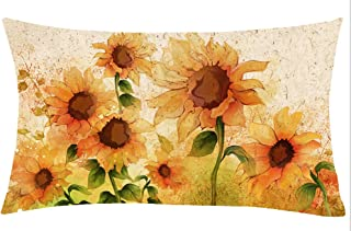 Jimrou Throw Pillow Cover 12x20 inches Festival Gifts Hand Painting Yellow Sunflowers Autumn Happy Fall Y'all Cotton Linen Decorative Home Sofa Chair Car Lumbar Throw Pillow Case Cushion Cover