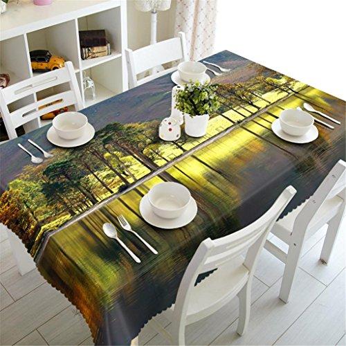 Nappe 3D Riverside Paysage naturel Polyester Impression épaissie anti-poussière Cuisine Dîner Dessus de table Couverture Diverses tailles , 2 , c