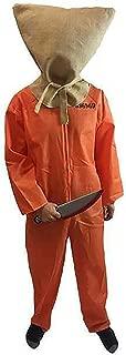 Halloween-Fancy Dress-Prisoner-Convict-Jail Inmate ON Death Row Orange Boiler Suit Jumpsuit with Hessian Hood/Sack & Weapon Costume Set