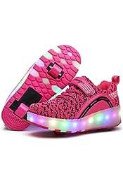 cdfa2fba3 Nsasy Roller Shoes Girls Boys Wheel Shoes Kids Roller Skates Shoes LED  Light Up Wheel Shoes