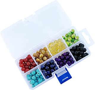 Hophen 8mm 160pcs with Packaged Box Chakra Beads and Black Lava Rock Stone Volcanic Stone for Jewelry Bracelet Necklace Making DIY