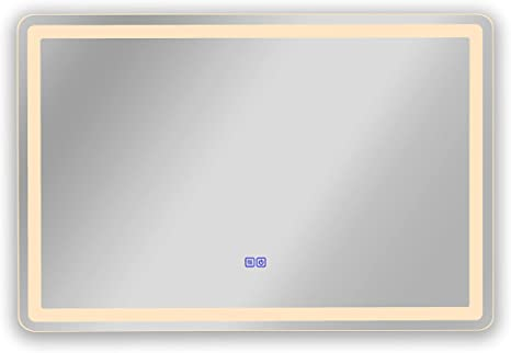 Amazon Com Overstock Frameless Wall Mounted Led Bathroom Mirror Colorless Home Kitchen