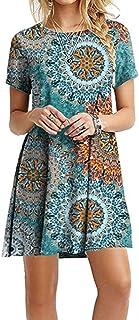 OMZIN Women Short Sleeve Loose Casual T-Shirt Tops Dress Plus Size 2XS-5XL