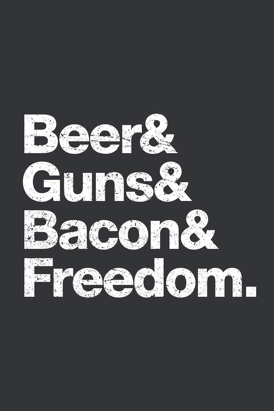 落ち込んでいる森不明瞭Notebook: Beer Guns Bacon Freedom Funny Indipendence Day Journal & Doodle Diary; 120 College Ruled Pages for Writing and Drawing - 6x9 in.