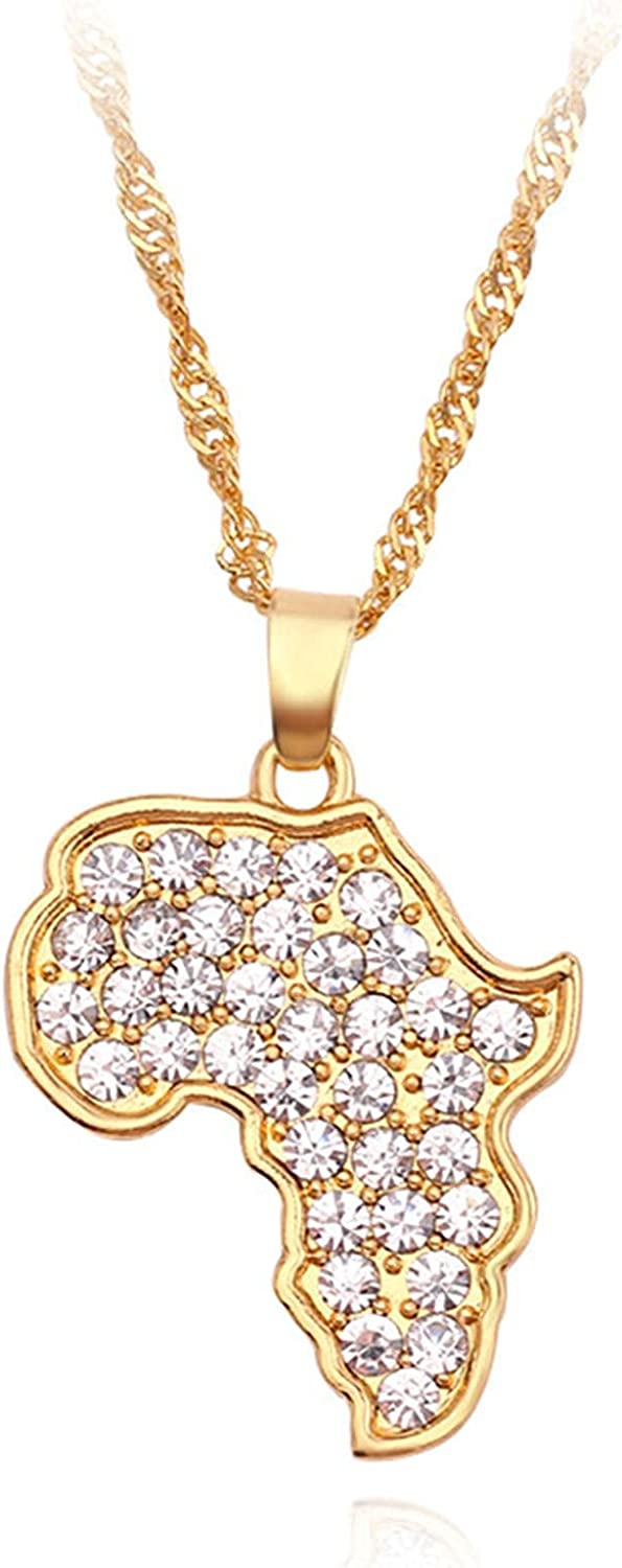Fashion Africa Map Necklace diamante Rhinestone Shine Map Africa Necklace For Women Charm Collar Jewelry Clavicle Chain