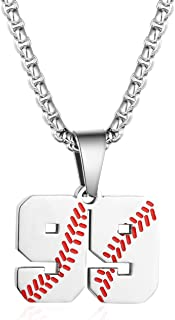 Inspiration Baseball Jersey Number Necklace Stainless Steel Charms Number Pendant for Boys Men