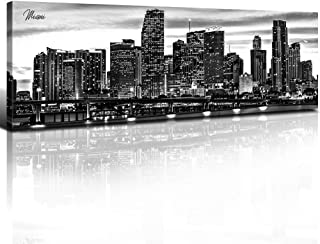 Sunfrower - Miami Skyline Decor Wall Art Canvas Florida Black and White night view Biscayne Bay Cityscape Panoramic Print Painting Urban Landscape Picture Modern Bedroom Framed Decoration 14