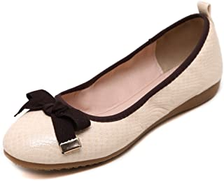 T-JULY Foldable Ballet Shoes for Women, Comfy Slip On Cute Bowknot Dress Flats