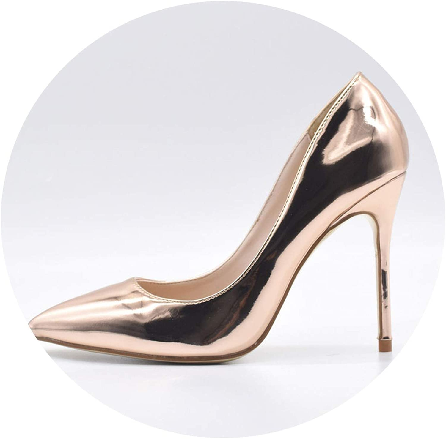 YP-fashion Women Sexy Pumps shoes 10cm 12cm pink gold Pointed Toe High Heeled shoes for Women