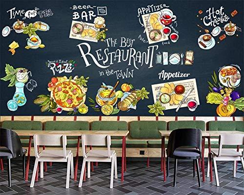 Tony plate Papel Pintado con Estilo Moderno Personalizado Pintado A Mano Pizarra Comida Occidental Pizza Material Fondo De Hamburguesa-300Cmx210Cm(118.1X82.7Inch)